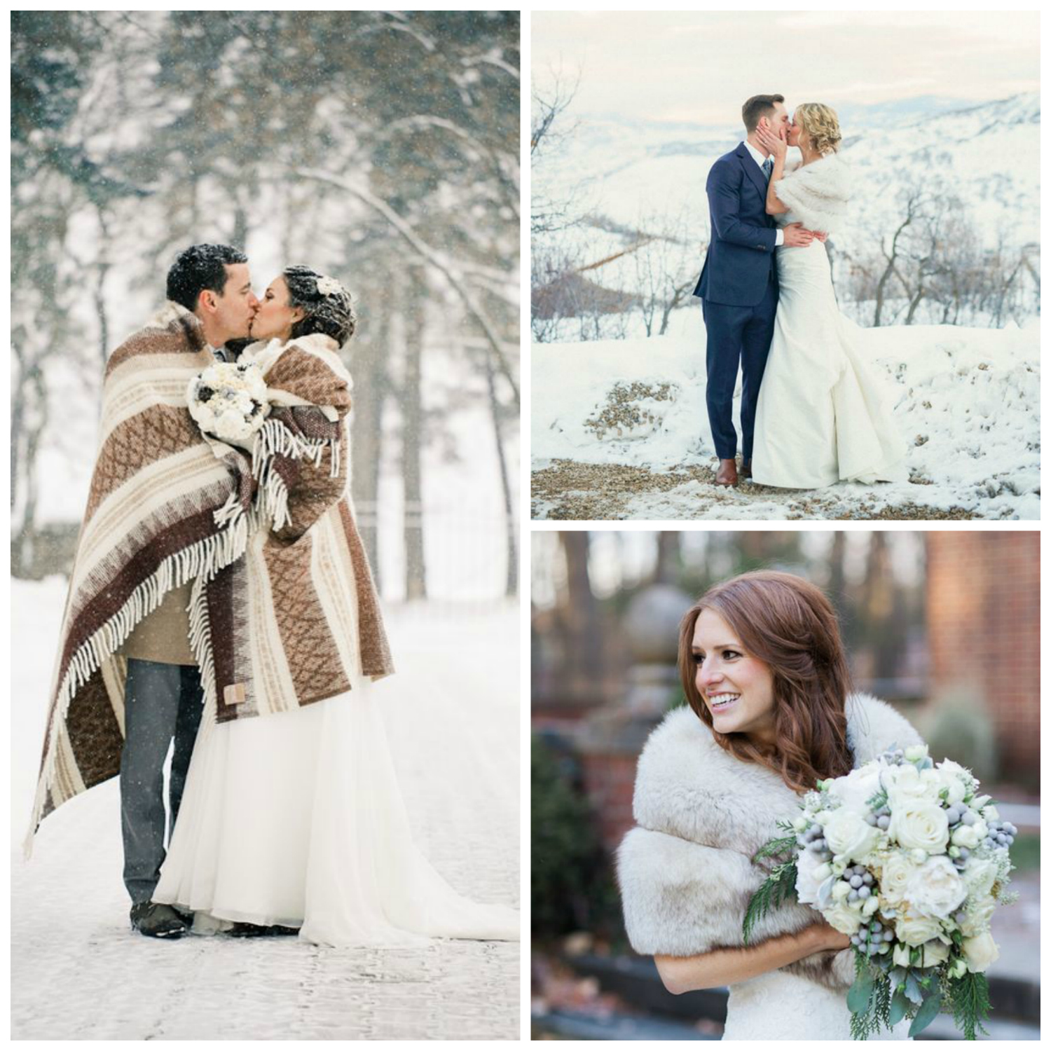 winter wedding brides