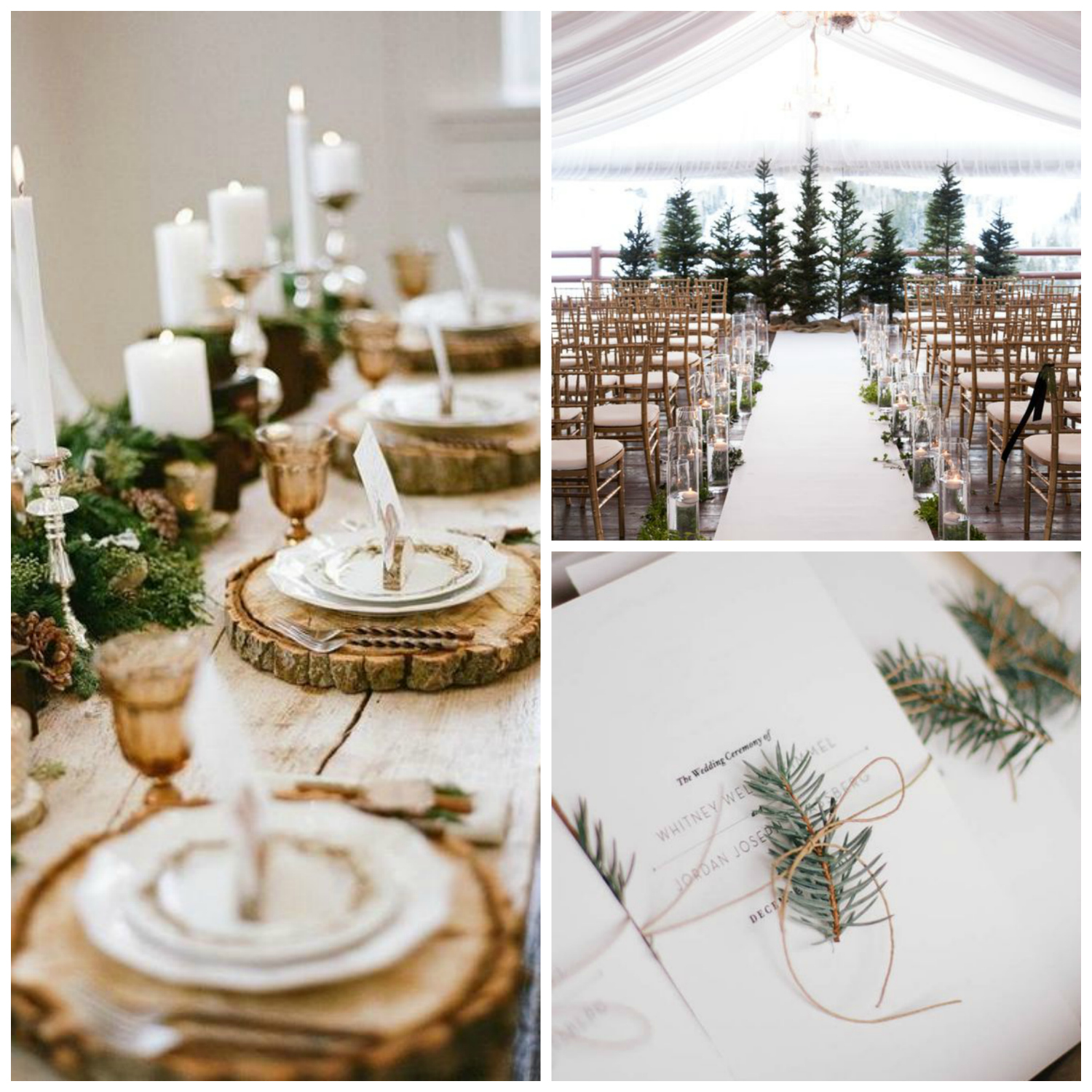 winter wedding foliage