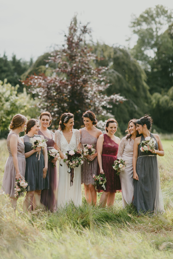 How To Pull Off The Mismatched Bridesmaids Trend Ruffled - photo by http://www.paulaohara.com/ - http://ruffledblog.com/art-nouveau-irish-mansion-wedding