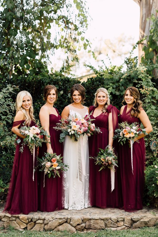 How To Pull Off The Mismatched Bridesmaids Trend A California Garden Wedding with Romantic Florals - photo by Plum and Oak http://ruffledblog.com/a-california-garden-wedding-with-romantic-florals